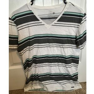 On The Byas GUC Men's Striped V-Neck Shirt Size Sm